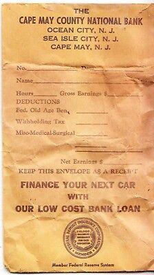 Historical Memorabilia Vintage Obsolete Cape May County Nj National Bank Cash Pay Envelope Ocean City Elegant And Graceful
