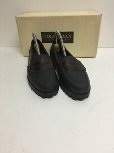 Cole-Haan-Country-Oiled-leather-Timber-Penny-loafers-7-5-NIB-Black-Brwn-Lug-Sole