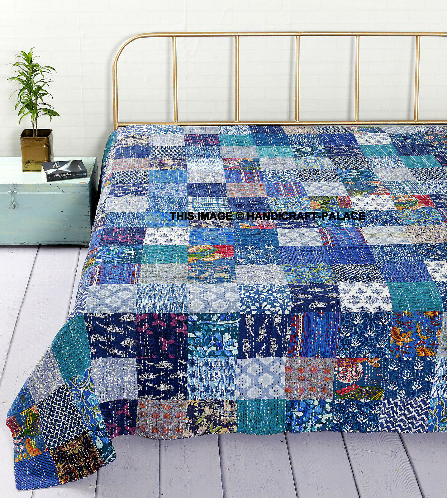 Indian Reversible Kantha Quilt Blau Patchwork Bedspread Bedding Blanket Throw