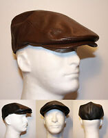 Gatsby Ivy Flat Driver Synthetic Leather Fitted Golf Cap Hat - Black Brown Ag50