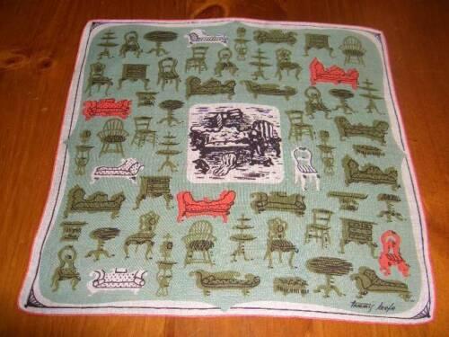 Vintage Tammis Keefe Furniture Hanky Handkerchief