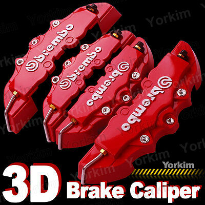 3D Red New Style Universal Disc Brake Caliper Cover 4 Pcs Front & Rear PT10