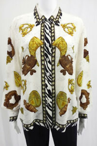 Vintage-ESCADA-Silk-Blouse-Long-Sleeve-Shirt-African-Themed-Ethnic-Size-L