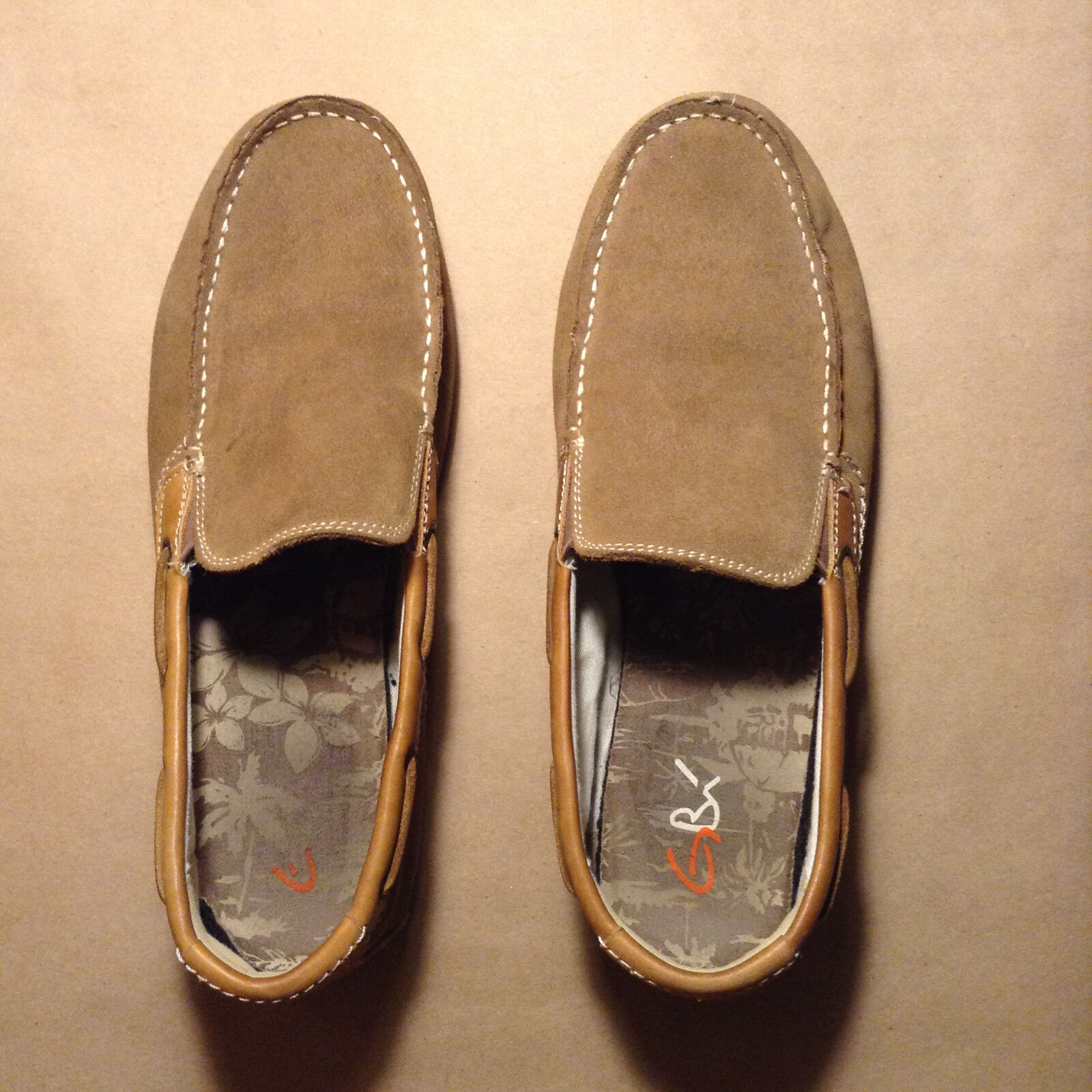 GBX Mens 135116 Suede Casual Slip On Loafers shoes Brown Beige Sizes 11M