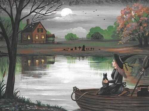 5X7 PRINT OF PAINTING RYTA HALLOWEEN BLACK CAT WITCH HAUNTED LAKE HOUSE AUTUMN