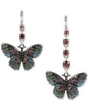 betsey  johnson Metallic Silver Multi-crystal Pavé Butterfly Mismatch Earrings