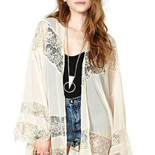 UK STOCK Women/'s Lace Batwing Kimono Tops Cardigan Cover Up Beach Coat Jacket