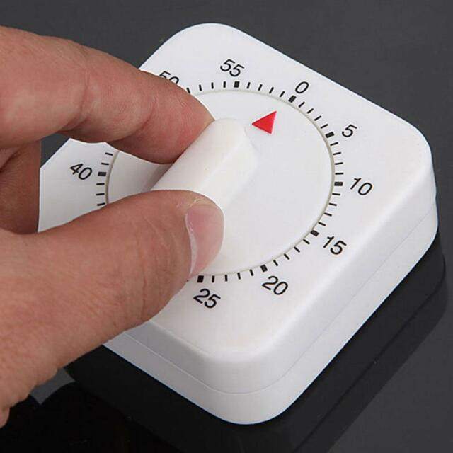 1x Lastest Square White 60-Minute Mechanical Timer Reminder Counting for Kitchen