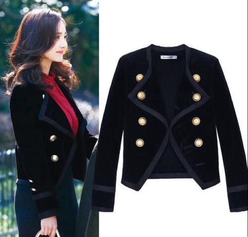 E663 à velours formelle blazer noir en Outwear double Veste de pour boutonnage revers Slim femmes à ng4UffZ