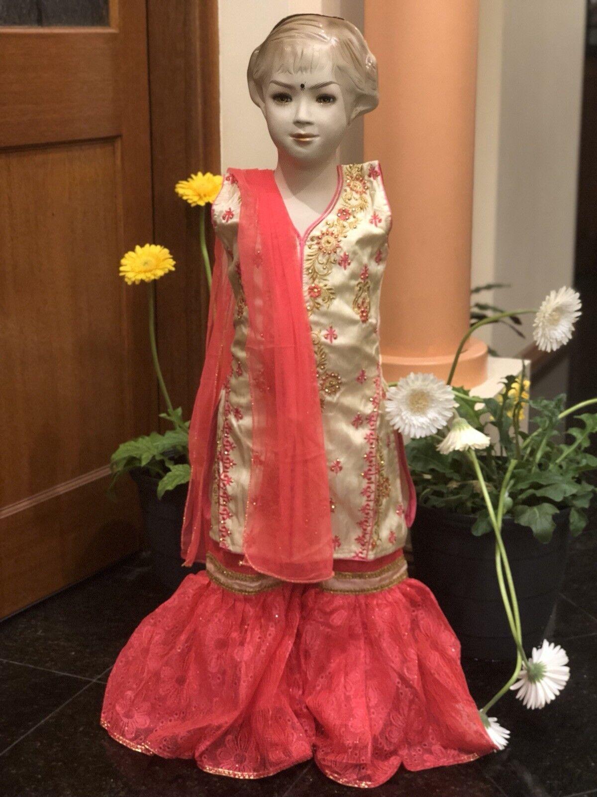 "28"" 5 6 Size Age Girls Salwar Kameez Indian Dress Kids Bollywood Pink Cream A13"