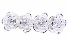 Silver tone 4 rose flowers double finger ring, UK Size M+O