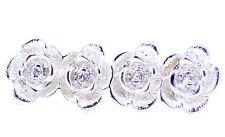 Tono plata 4 Rosa Flores Doble anillo de dedo, tamaño del Reino Unido m+o