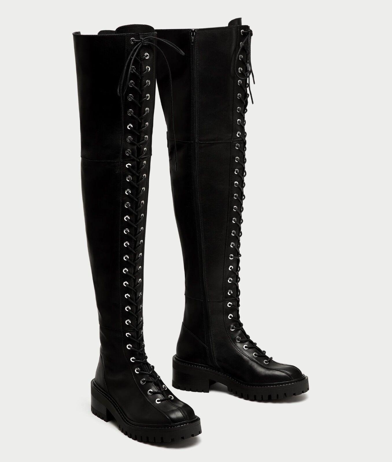 Descuento de la marca Zara Negro Cuero Con la Cordones Tacón Bajo sobre la Con rodilla botas talla UE 37 EE. UU. 6,5 8ad64b