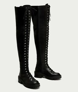 2b3bf56e696 Details about ZARA BLACK LOW HEEL LACE UP LEATHER OVER-THE-KNEE BOOTS SIZE  UK 4 EU 37 USA 6,5