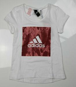 Kinder Adidas T-Shirt Gr.128 Mädchen Weiss/Pink/Lila NEU BP8647