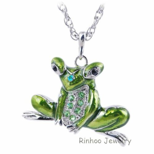 Fashion Cute Frog Animal Pendant Necklace Long Sweater Chain Jewelry Family Gift