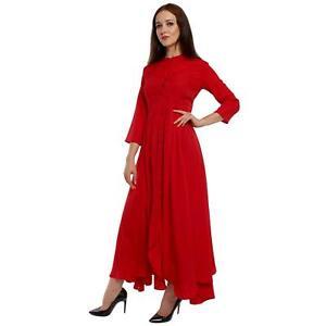 Details About Woman Designer Kurti Red Dress Mandarin 3 4 Sleeves Indian Ethnic Wear