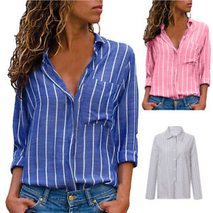 174939b5353 Image is loading Fashion-Women-Button-Striped-Casual-Ladies-Loose-Long-