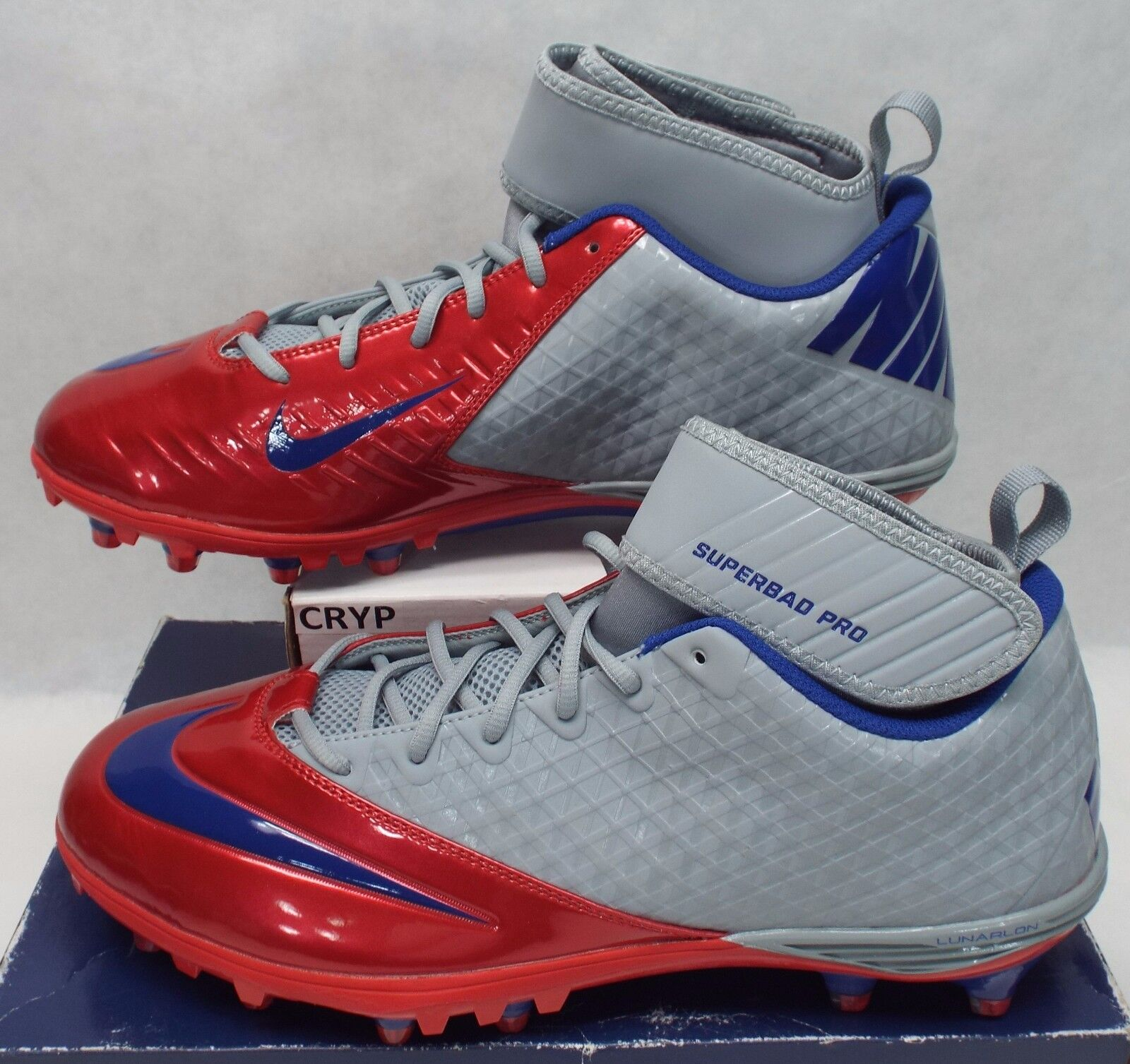 New Superbad Mens 15 NIKE Lunarlon Superbad New England Patriots Cleats Shoes $105 534994-046 71160a