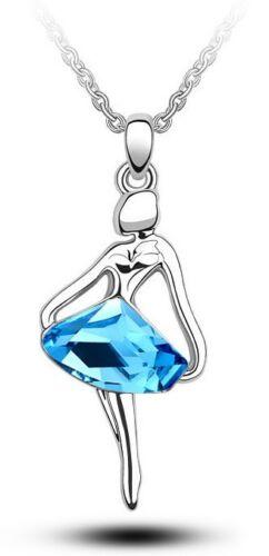Elegant /& Stylish Silver Blue Ballet Dancing Girl Shiny Pendant Necklace N252