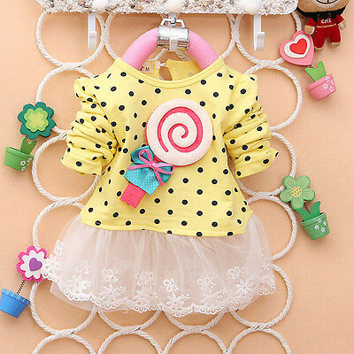 Baby Toddler Girls Lace Dress Lollipop Dot Bowknot Princess Tutu Dress 2-4Year