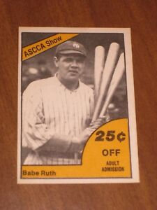 Details About 1977 New York Ascca Babe Ruth Promotional Baseball Card Show Hotel Taft