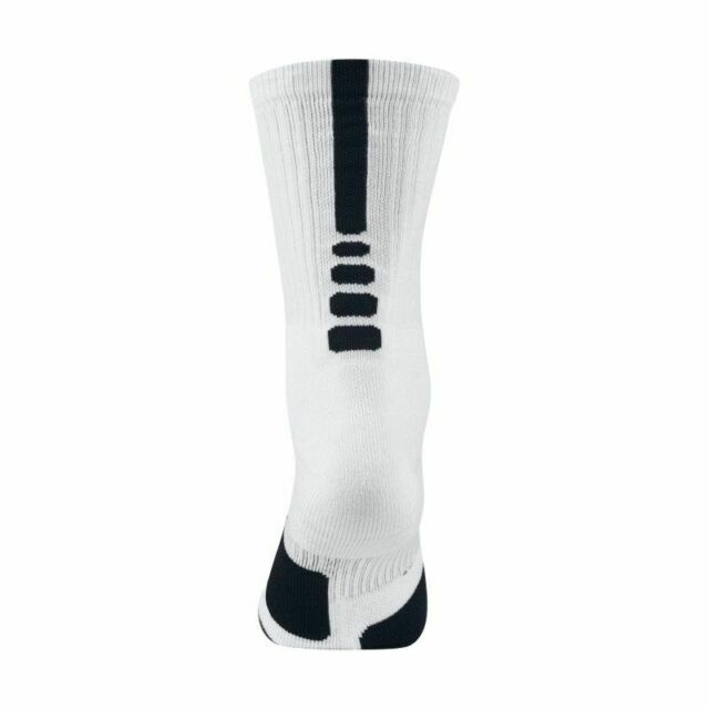 Nike Elite Cushioned Crew Basketball Socks Men 6-8 White Black Sx5593 100