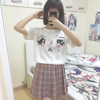 Harajuku Amo Big Eyes with Tears Anime White T-shirt Pure Cotton Gilrs