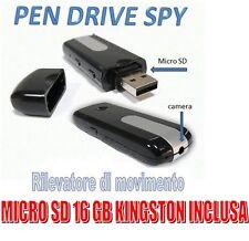 PENDRIVE SPIA NASCOSTA PEN DRIVE USB SPY VIDEOCAMERA + MICRO SD 16 GB KINGSTON!!