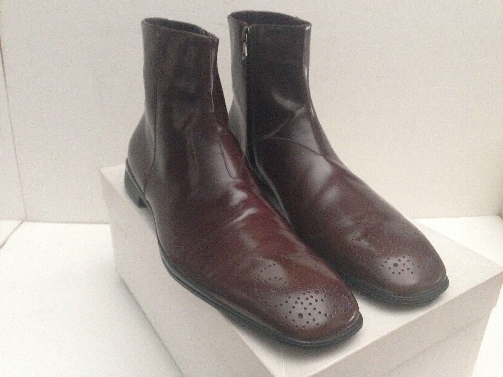 Incrustación de PRADA MILANO SPAZZOLATO Cuero Diseño Cremallera Lateral botas Talla EE. UU. 11.5 Reino Unido 10.5