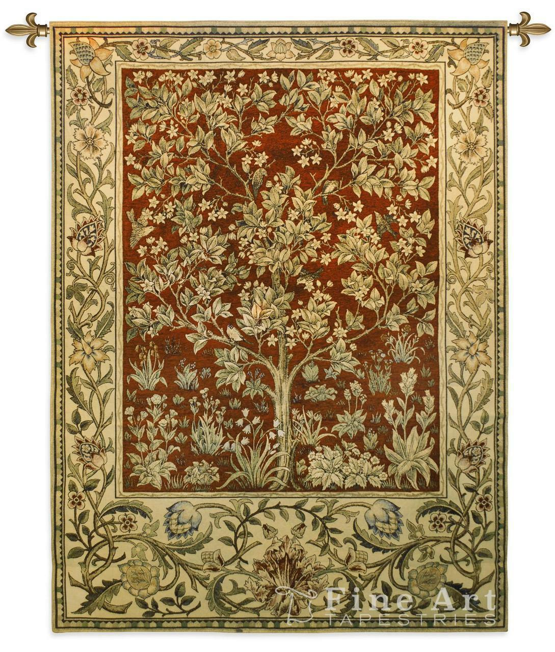Tree Of Life Ruby Mille Fleur Wall Tapestry - William Morris Design H53  x W40