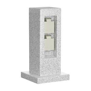 Garten-Steckdosen-Säule POCK für außen, 2-Fach, Stein-Optik, Kunstharz, eckig, 3