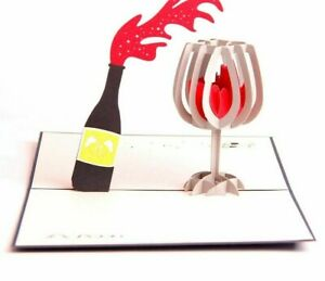 Gift-Greeting-Message-Card-With-Envelope-Pop-Up-Wine-Designed-Paper-Supplies-New