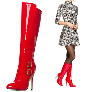 ad6ec7f840a Image is loading Red-Patent-Buckled-Pointed-Toe-Stiletto-Heel-Knee-