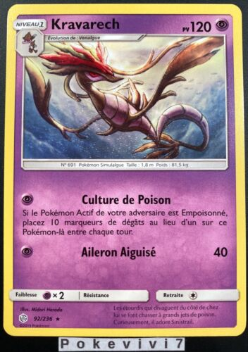 Carte Pokemon KRAVARECH 92//236 RARE Soleil et Lune 12 SL12 FR NEUF