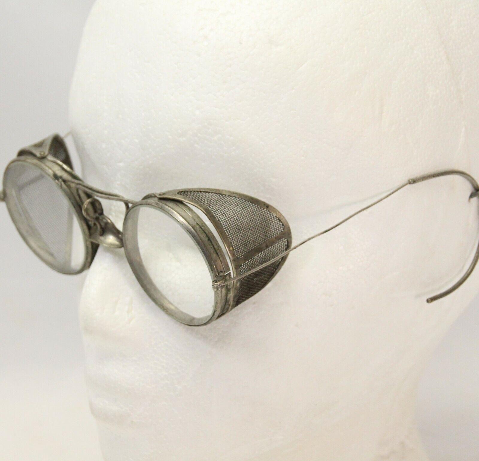 Image 1 - Vintage-Safety-Glasses-Original-Metal-Frame-Side-Guards-Steampunk