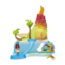 Disney Moana Island Adventure Set Toy Volcano Slide Turtle Hammock Palm Figurine