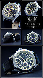 Cavadini-Calendar-Men-039-s-Automatic-Watch-Lord-Caliber-Miyota-9100-Black-Gold