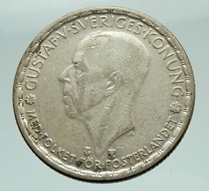 1949-Sweden-GUSTAF-V-Silver-Krona-Crowned-ARMS-Antique-Vintage-Coin-i74557