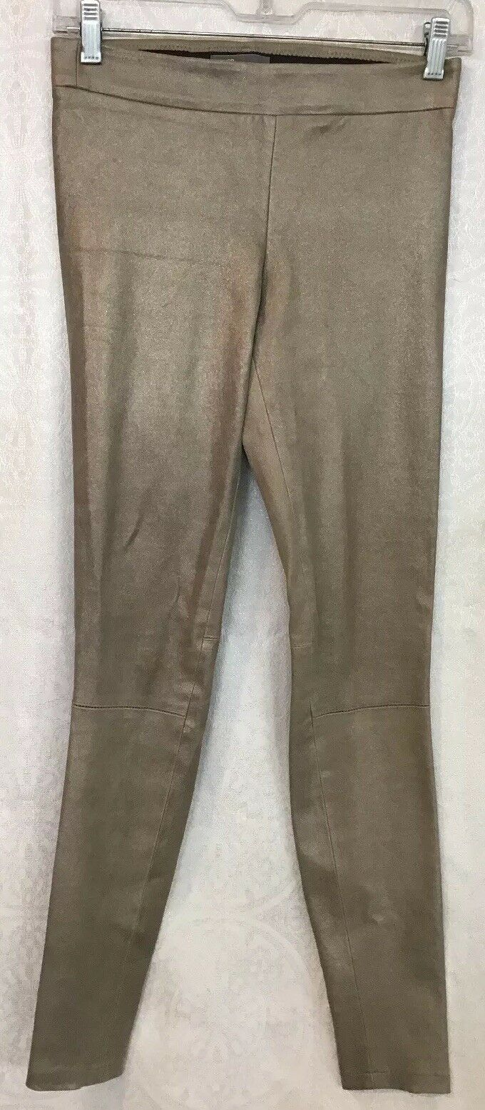 Vince Leggings Leather Stretchy  Metallic Taupe Size S