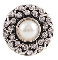 White Rhinestone Pearl 20mm Snap Charm Interchangeable For Ginger Snaps
