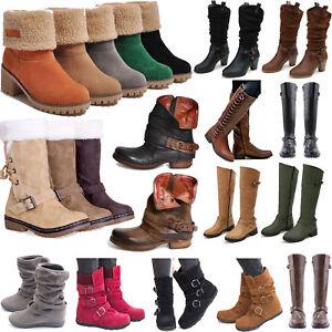 7ec4dc41e3e5d8 Das Bild wird geladen Damen-Schlupfstiefel-Stiefeletten-Stiefel -Warm-Kurze-Lang-Boots-