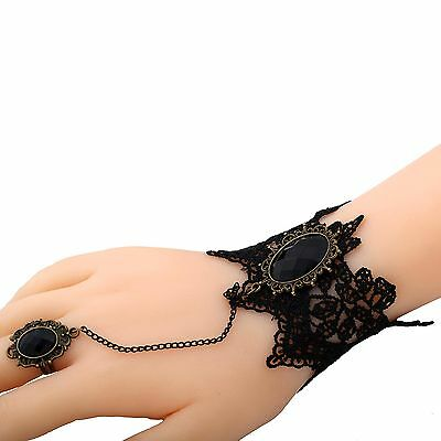 Gothic Black Lace crystal Bracelet Chain Cameo pendant Lolita wristband ring