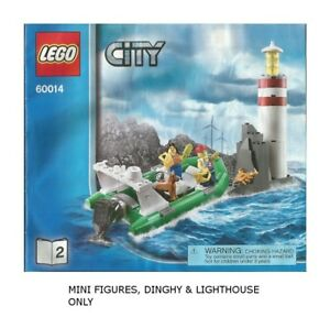 LEGO-60014-City-Coast-Guard-Dinghy-amp-Lighthouse-with-Rocks-ONLY