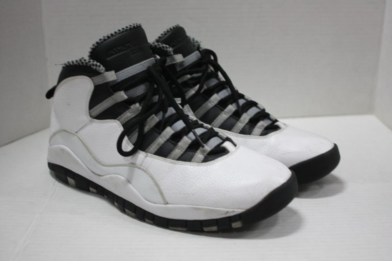 Jordan Retro 10 White/Nero/Light Steel Grey Basketball Basketball Basketball Shoes Sz 11 (310805 103) 59c2dc