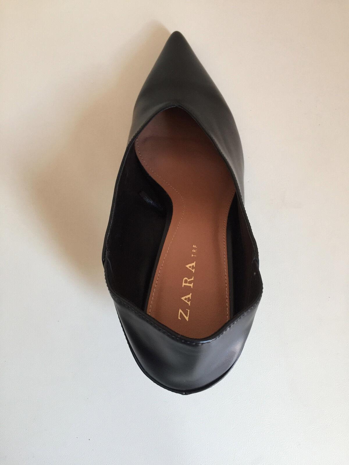 Topshop en Negro Cuero Tacón Patente en Topshop Punta Zapatos UK 5 ad0498