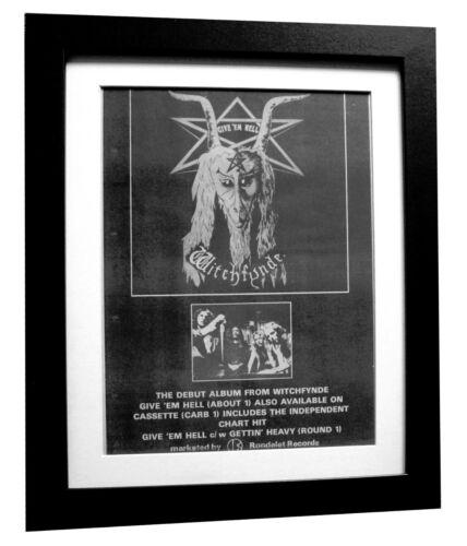 WITCHFYNDE+Give Em Hell+POSTER+AD+RARE ORIGINAL 1980+FRAMED+EXPRESS GLOBAL SHIP