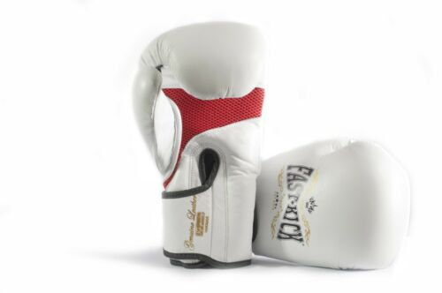 White Sparring  Real Leather Boxing Gloves Muay Thai MMA  Kickboxing Training