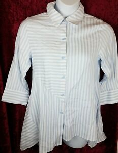 f834794c73 Soft surrounding Top Standout Shirt Size PS White Blue striped Tunic ...