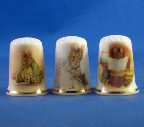 Set of Three Birchcroft Thimbles Beatrix Potter